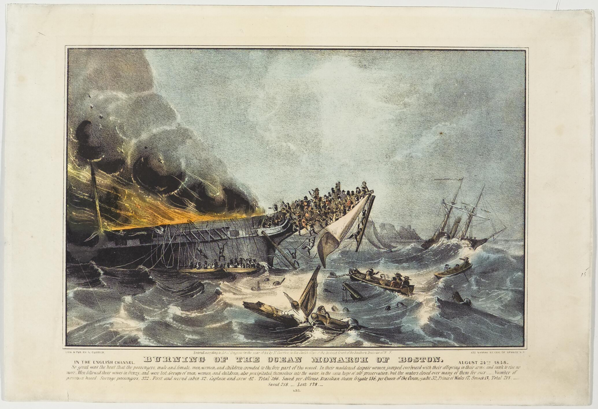 Ship on left in image aflame; passengers jumping off and hanging off bow