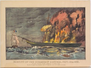 Burning Of The Steamship AUSTRIA, Sept. 13th 1858., Currier & Ives
