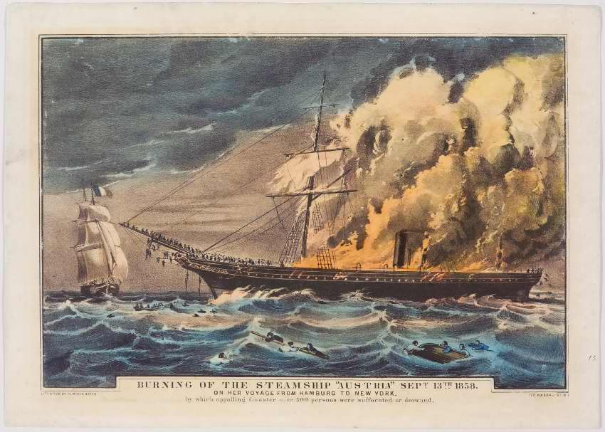 Ship facing left in image aglow in flames: people jumping off right end and lining up off left end to be lowered into boats by rope