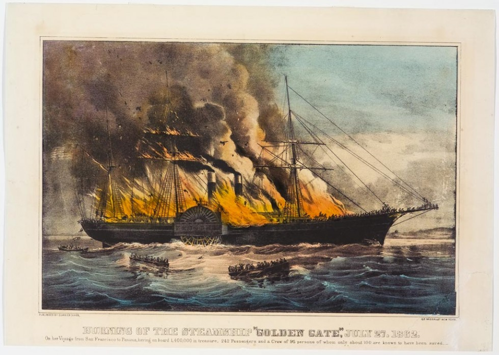 Paddlewheel steamship ablaze headed to right in image