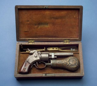 Cased Pocket Revolver, .28 Caliber, Massachusetts Arms Co., Massachusetts Arms Co., Chicopee Falls, MA