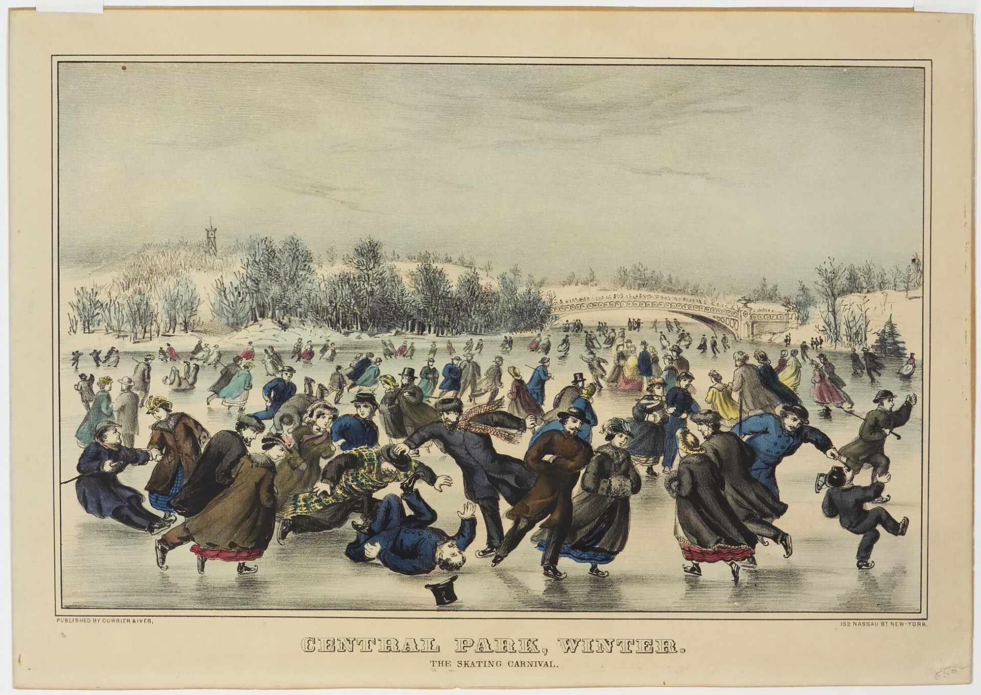 Central Park Winter. The Skating Carnival, Currier & Ives
