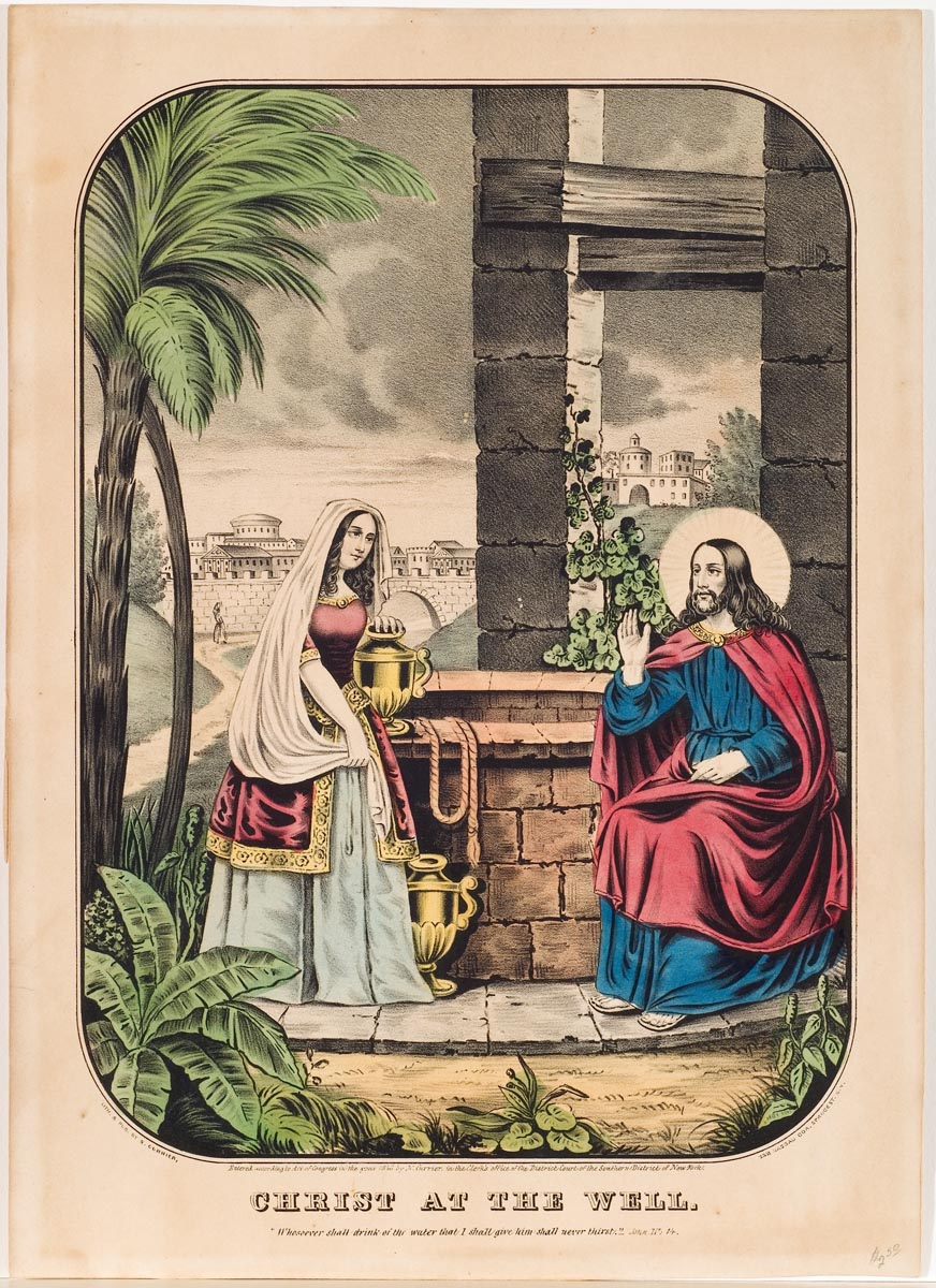 Christ seated at right of well