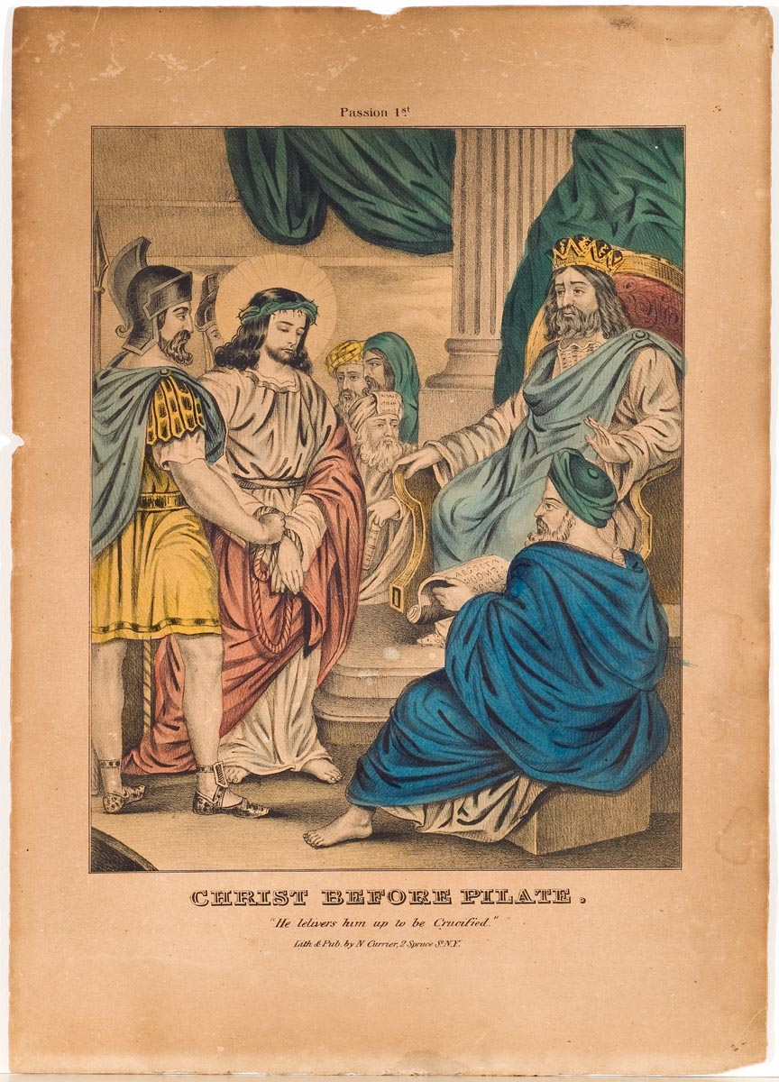Christ with hands tied and between two guards standing before seated Pontius Pilate