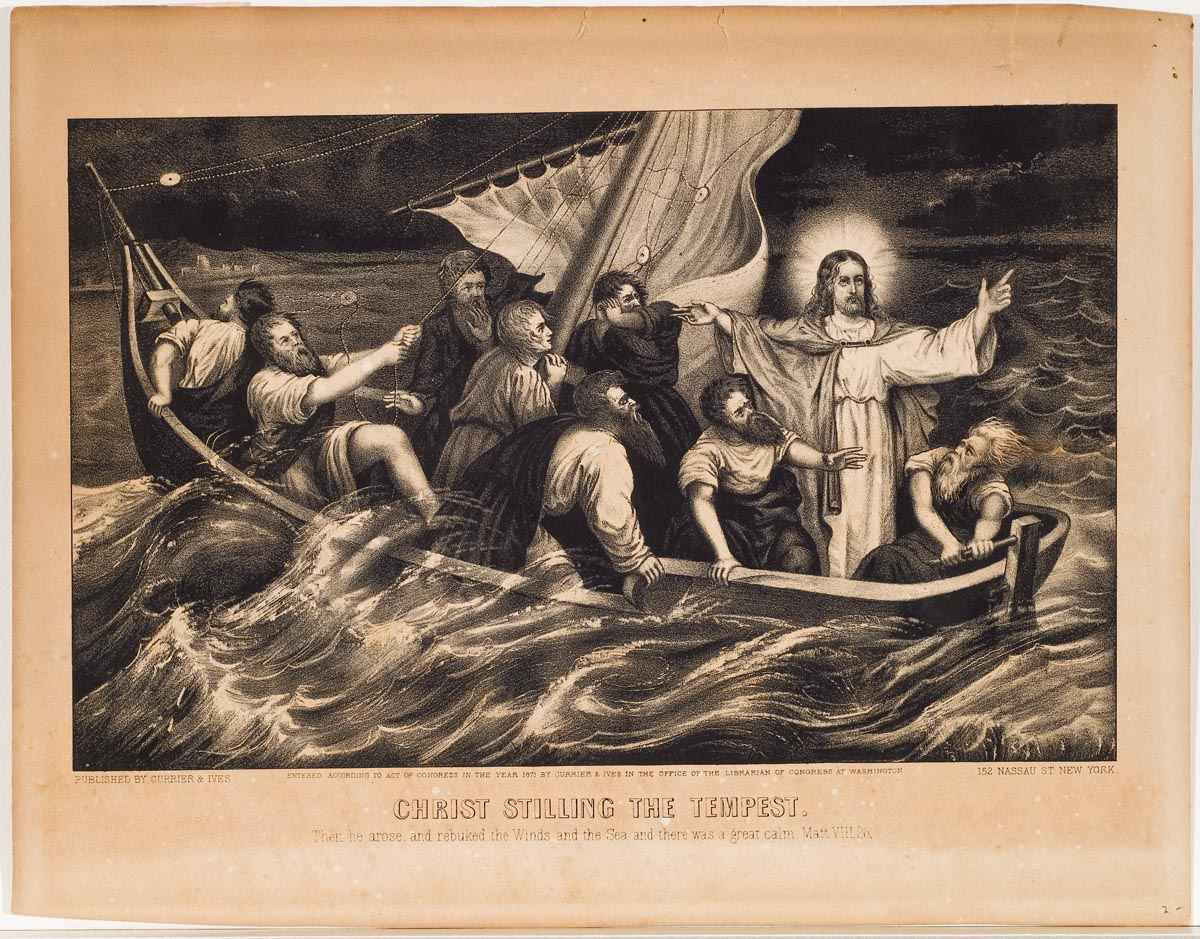Christ with upraised arms stands in sail boat accompanied by 8 men