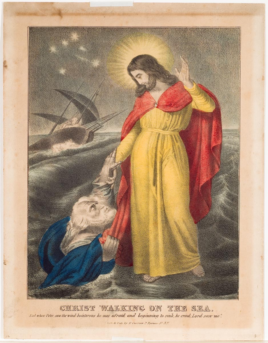 Christ in yellow gown and red robe standing on water rescuing man sinking at viewer's left