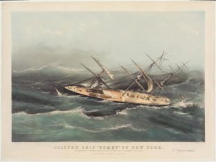 "Clipper Ship ""COMET"" Of New York. In A Hurricane Off Bermuda, On Her Voyage From New York To San Francisco, Oct. 1852, Nathaniel Currier"