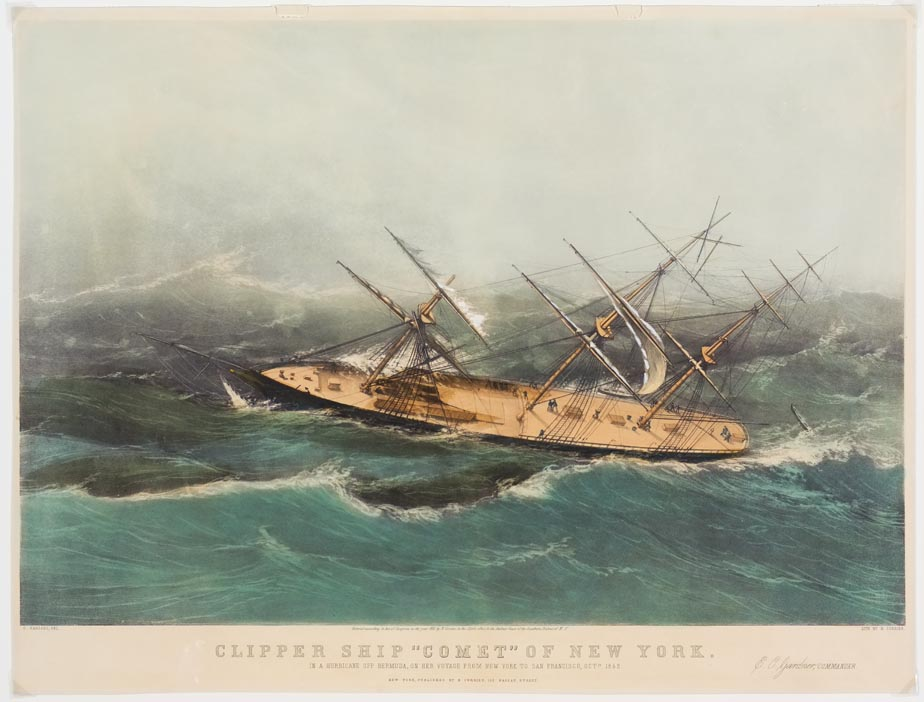Clipper ship on stormy sea looking like it is ready to capsize onto its left and into the sea