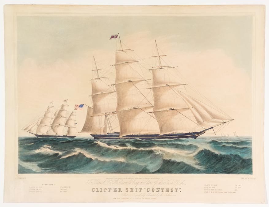Clipper ship sailing to right in image flying American flag off left end of ship