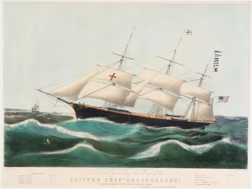 Clipper ship sailing to left in image
