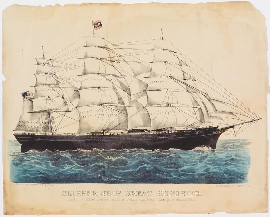 Clipper ship sailing to right in image