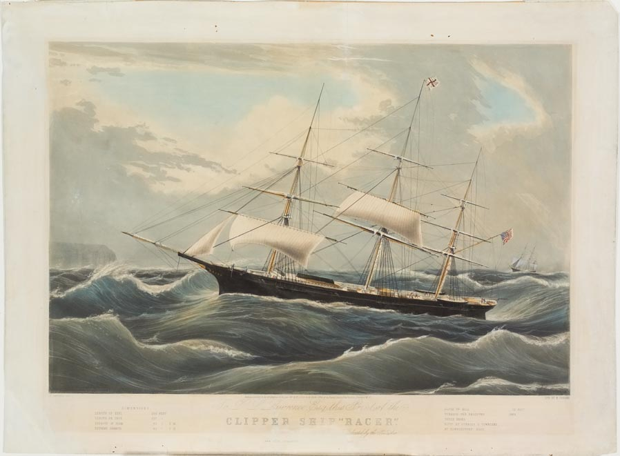 Ship at center sailing to left on stormy seas; another ship in background at right