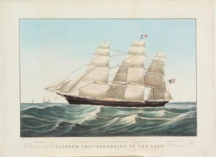 "Clipper Ship ""SOVEREIGN OF THE SEAS""., Nathaniel Currier"