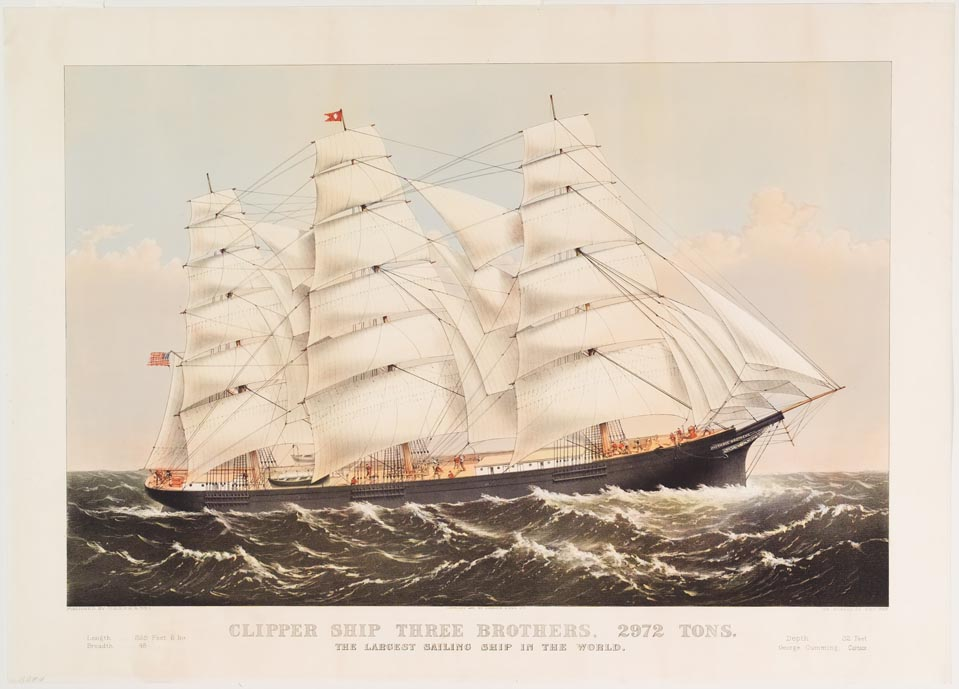 Ship with name plate of THREE BROTHERS (on right end of ship in image)
