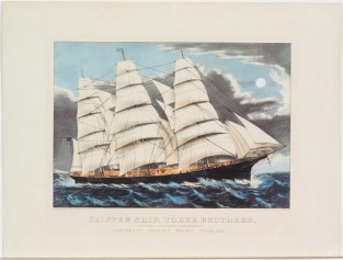 Clipper Ship THREE BROTHERS. Formerly Steamship VANDERBILT, Currier & Ives