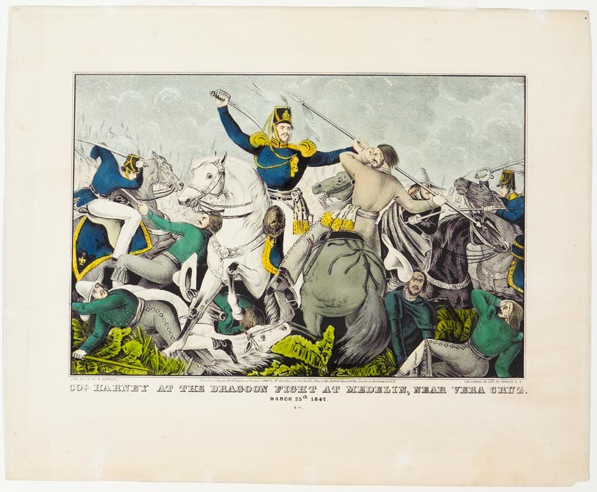 Battle scene with Colonel at center on white horse both facing forward with his sword in his proper right raised arm
