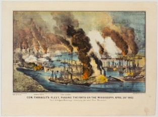 Com. Farragut's Fleet, Passing The Forts On The Mississippi, April 24th 1862. The U.S. Frigate Mississippi, Destroying The Rebel Ram Manassas, Currier & Ives
