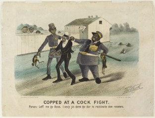 Copped At A Cock Fight. Parson. – Leff Me Go Boss, I Only Jis Done Go Dar To Reckinsile Dem Roosters, Currier & Ives