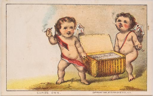 Two cupids smoking cigars and carrying lidded basket of cigars