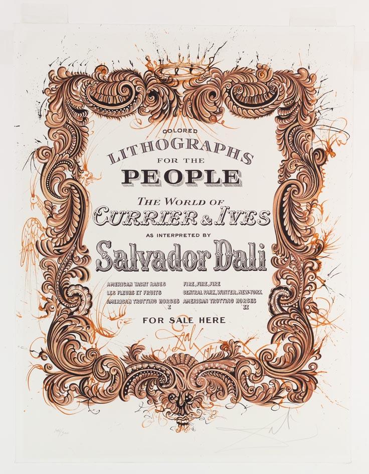 Currier & Ives Prints for Sale Sign, Salvador Dalí