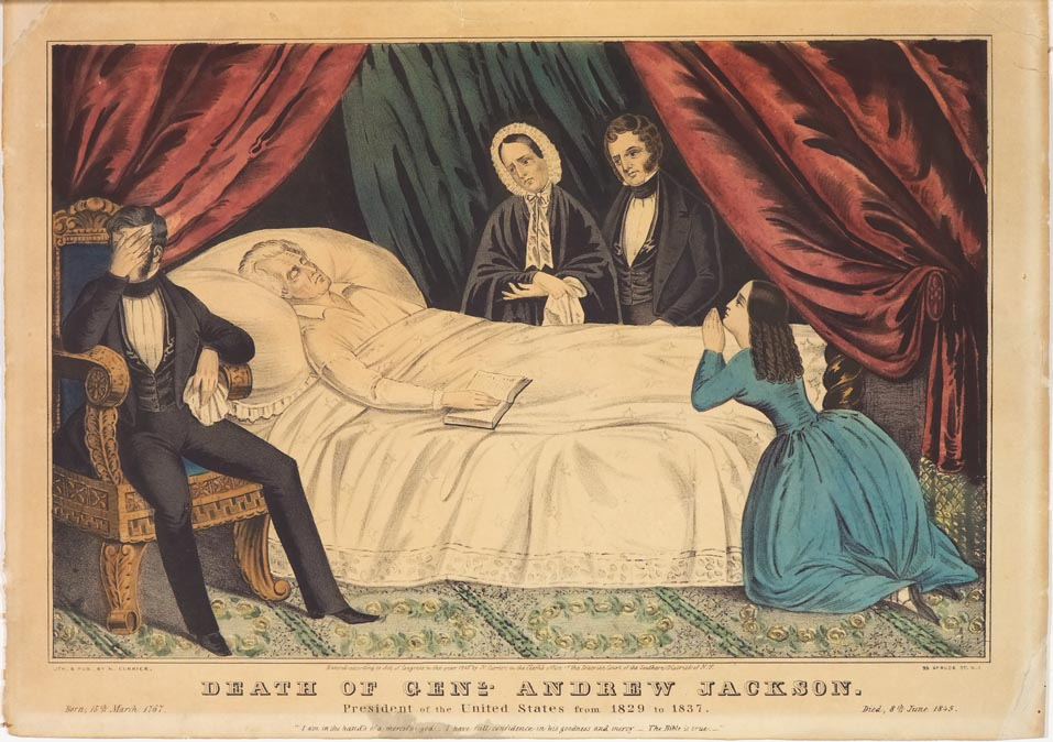 Andrew Jackson lying bed while a woman and man at center looking down on him