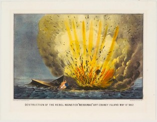 "Destruction Of The Rebel Monster 'MERRIMAC"" Off Craney Island May 11th 1862., Currier & Ives"