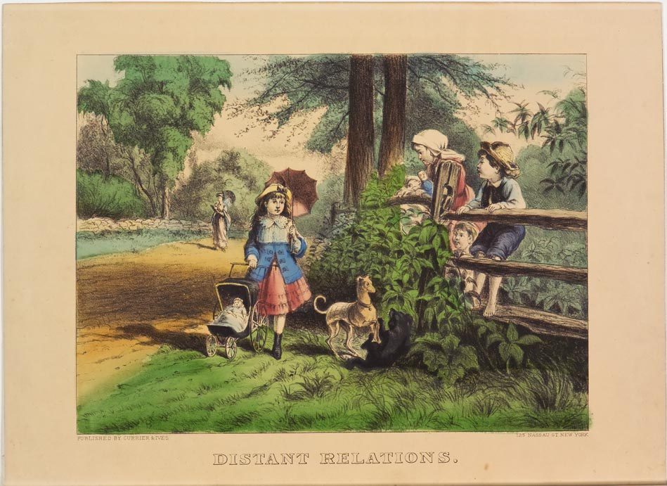 Pastoral scene - children along fence at right watching girl with dog and doll in carriage walk by