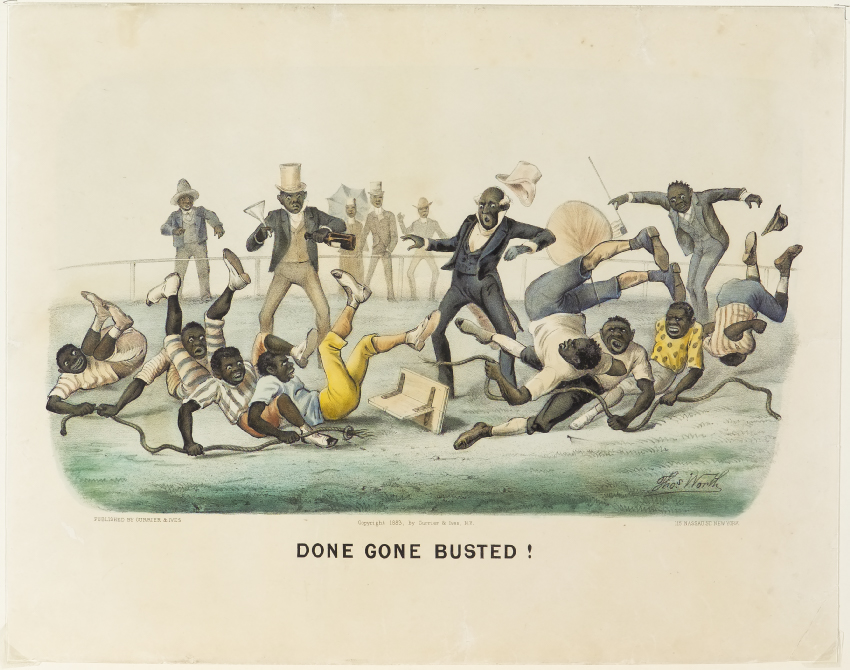 African Americans in a game of tug of war where rope has torn in half in center rand all are falling to ground