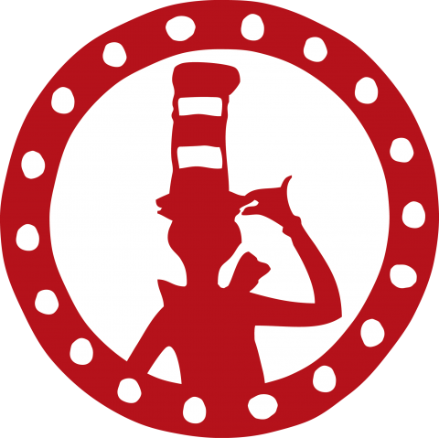 Red, circular medallion with the Cat in the Hat from Dr. Seuss' books at the center.