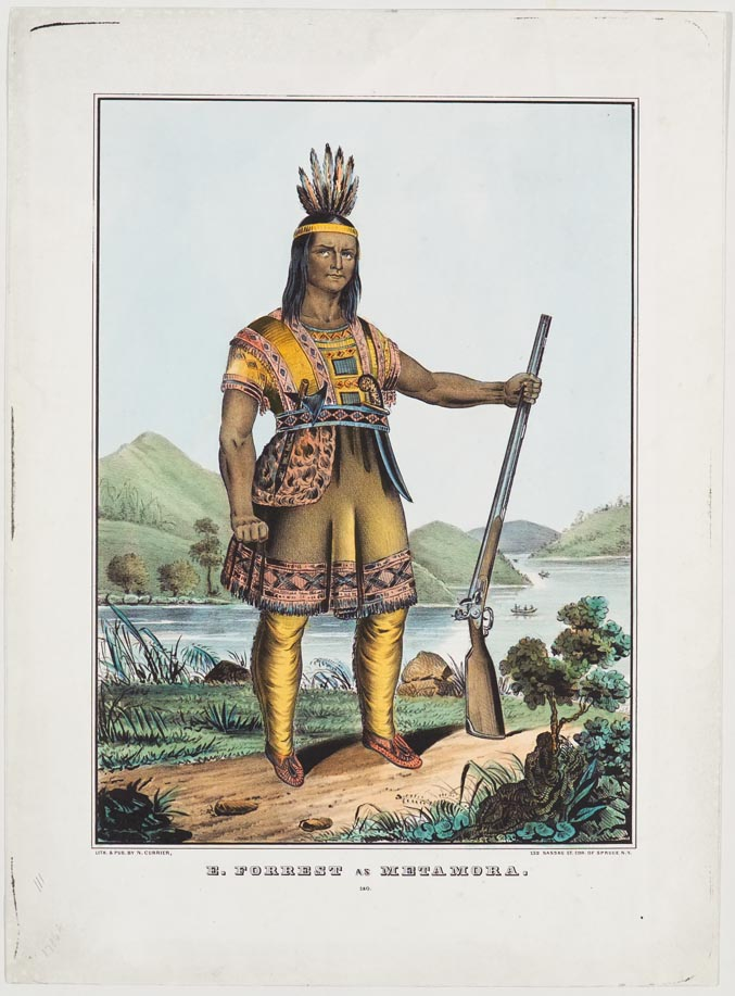Native American in native dress standing on river bank with rifle in proper left hand and looking directly at viewer