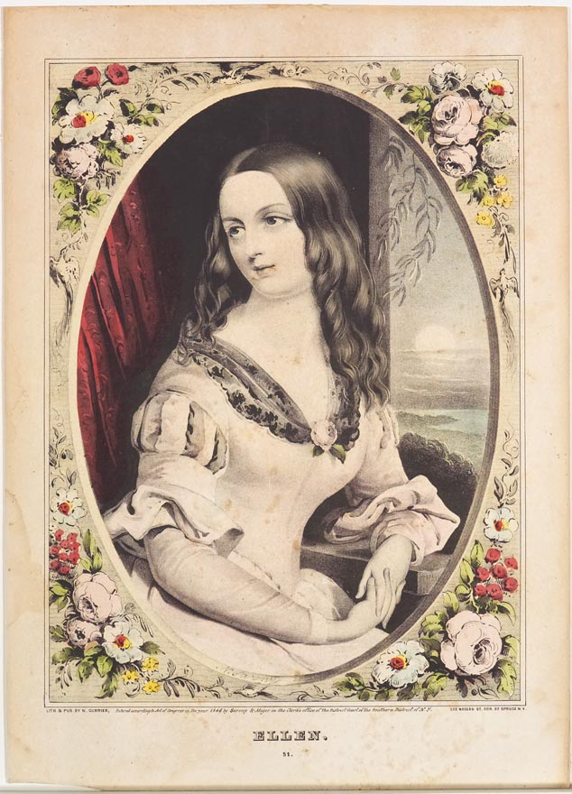 Portrait in an oval frame of a woman seated