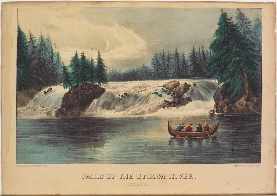 River in forefront - canoe with four passengers paddling to right in image