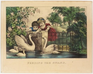 Feeding The Swans, Currier & Ives
