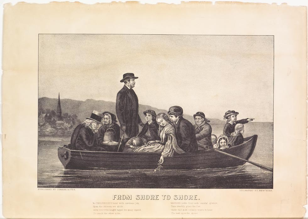 Boat on water with man near center standing