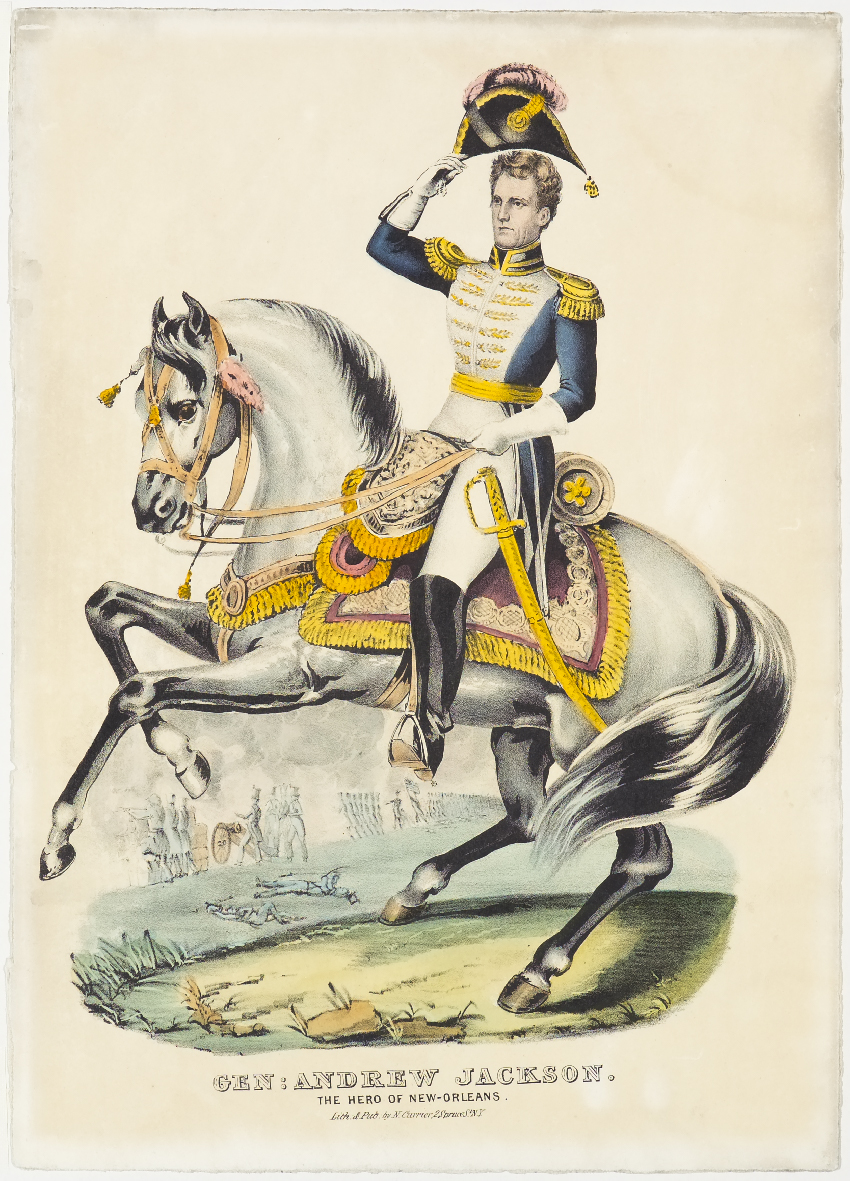 Man in uniform on horseback facing viewer