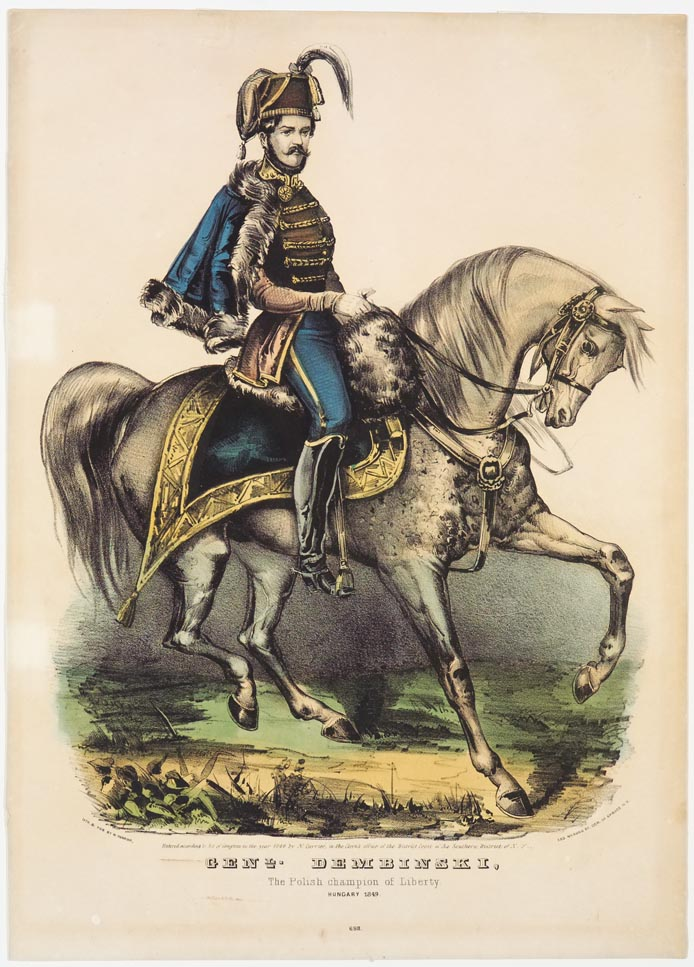 General astride horse both headed to right in image