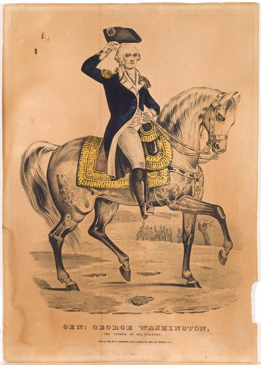 General George Washington on horseback facing viewer