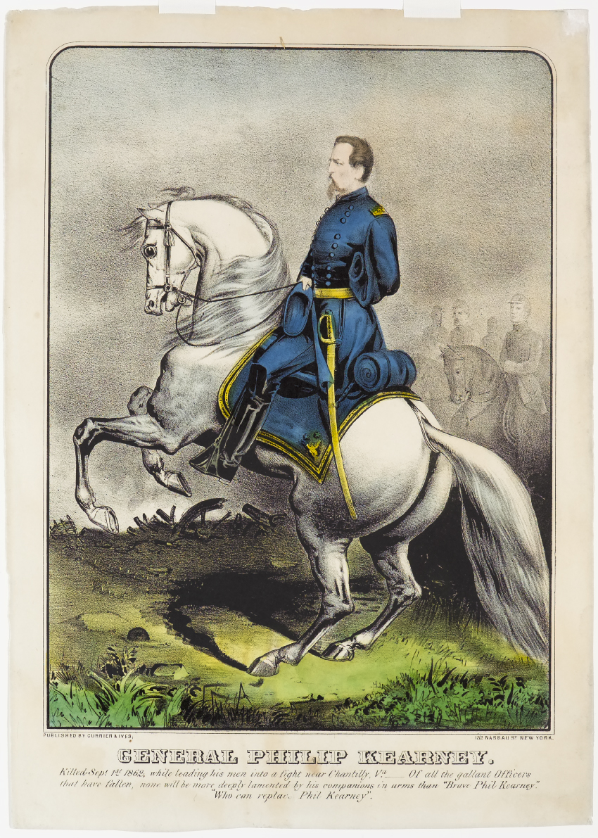 Officer astride white horse both facing left in image