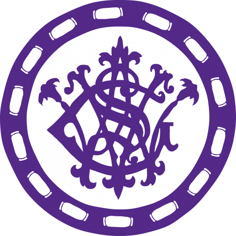 Circular, purple medallion with the George Walter Vincent Smith Art Museum stamp at center.