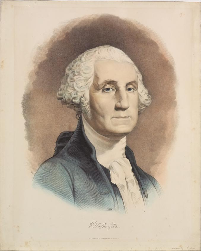 Bust of George Washington (body facing to right in image he's looking out at viewer)