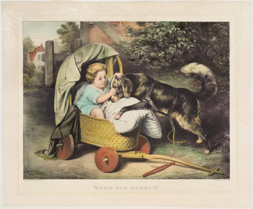 Young girl in cradle on wheels