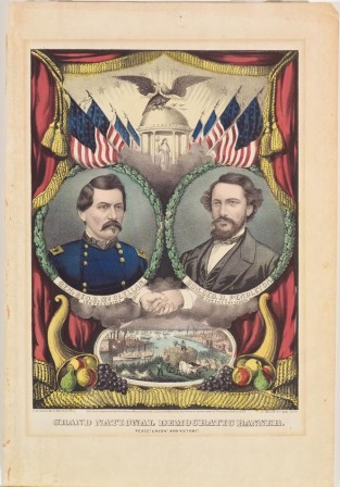 Grand National Democratic Banner. Peace! Union! And Victory!, Currier & Ives