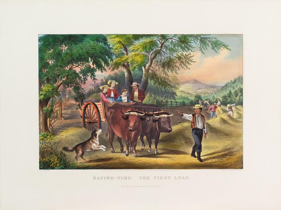 Pastoral scene of man leading double oxen drawn wagon with two adults and two children within