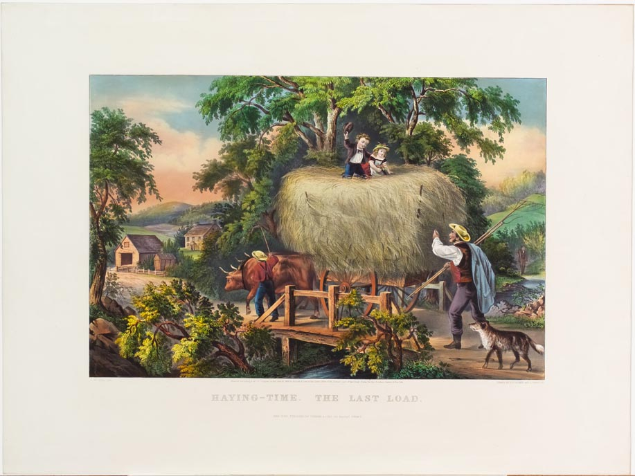Pastoral scene of large oxen drawing hay wagon loaded with hay headed over bridge