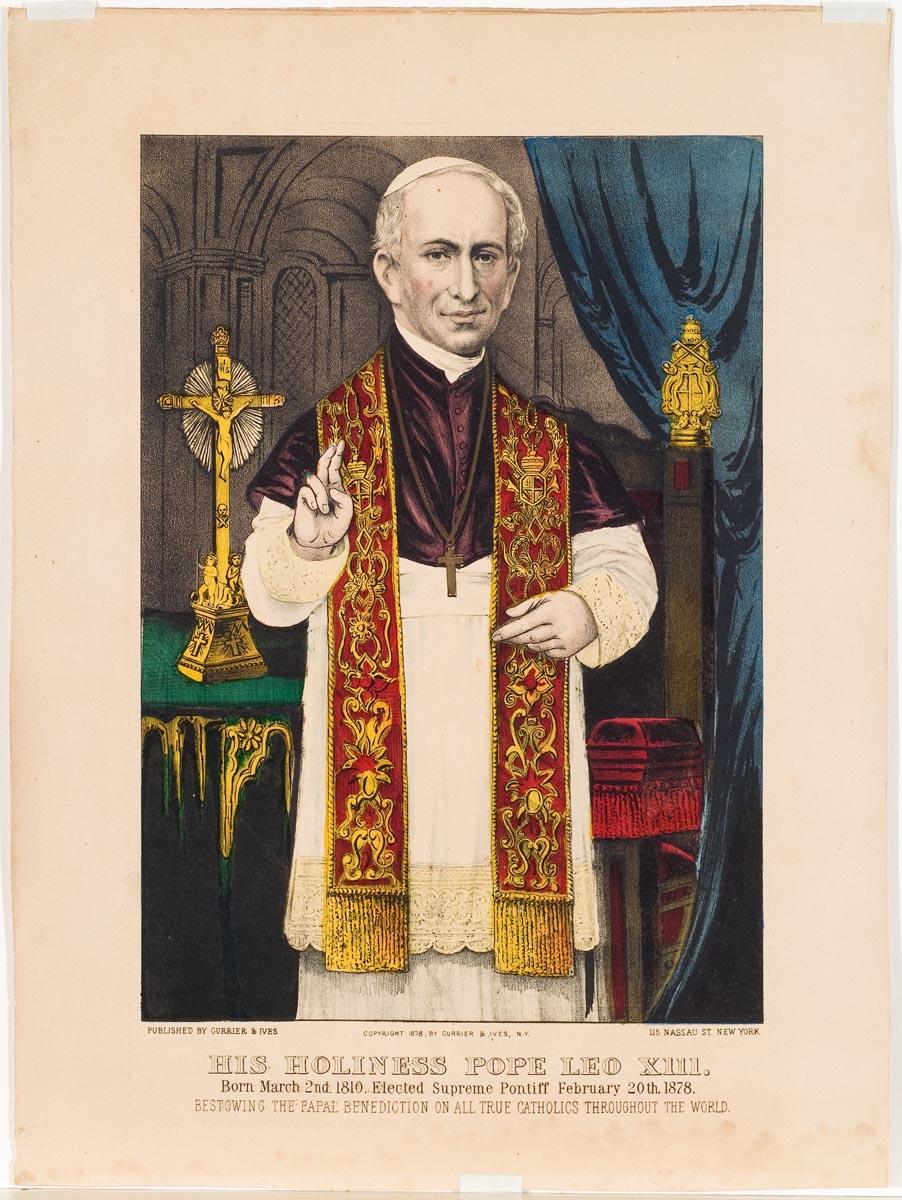 Pope at center wearing purple shoulder garment
