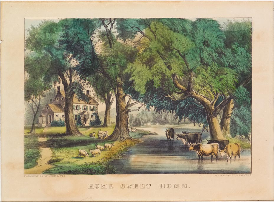 Pastoral scene of house alongside brook with sheep on left bank and cattle wading in stream on right in image