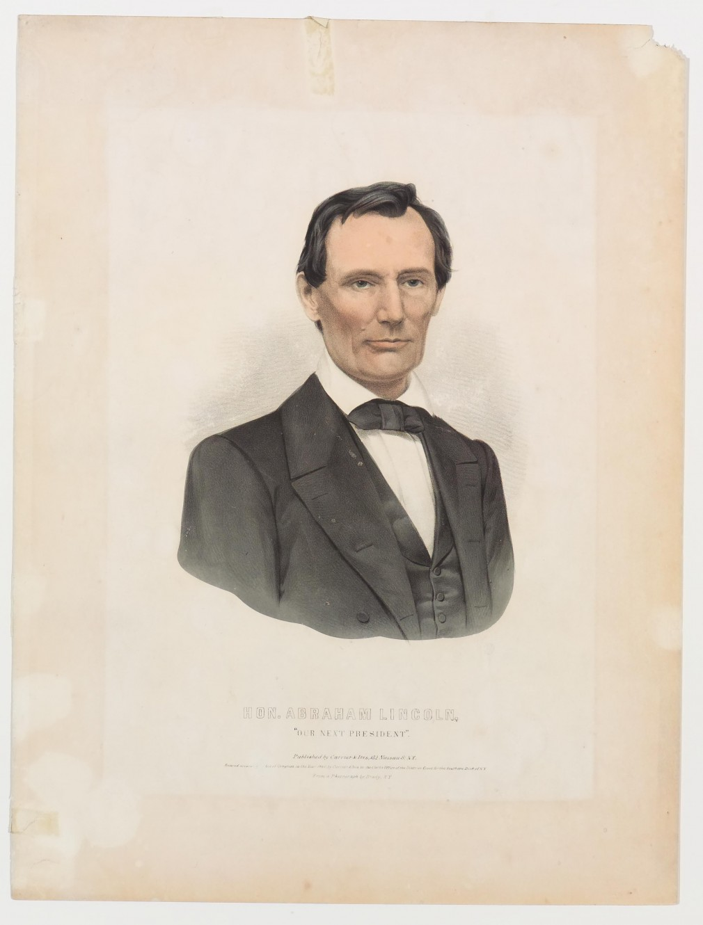 Mid chest view of unbearded Abraham Lincoln facing forward - three buttons visible on vest