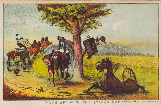 Man caught in a wagon wheel hanging off branch of tree