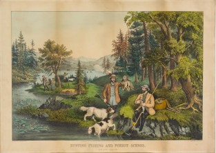 Hunting Fishing And Forest Scenes. Good Luck All Around, Currier & Ives