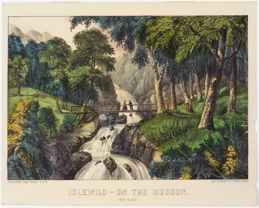 Woodland scene with river cascading down center